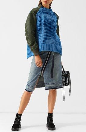 Шерстяной пуловер с контрастными рукавами и воротником-стойкой Sacai разноцветный   Фото №1