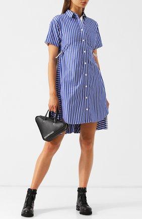 Хлопковое платье-рубашка в полоску Sacai голубое   Фото №1
