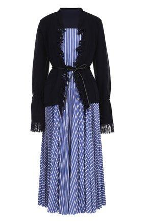 Шерстяное платье-миди с поясом Sacai голубое   Фото №1