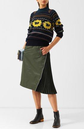 Шерстяной пуловер с декоративной вышивкой и открытой спиной Sacai разноцветный   Фото №1
