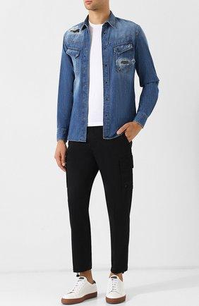 Джинсовая рубашка с потертостями на кнопках Just Cavalli синяя | Фото №1