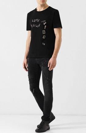 Джинсы-скинни с потертостями Just Cavalli черные | Фото №1