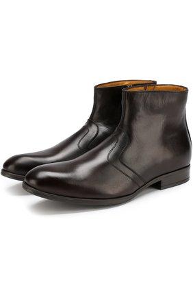 Кожаные ботинки на молнии с внутренней меховой отделкой A. Testoni коричневые | Фото №1