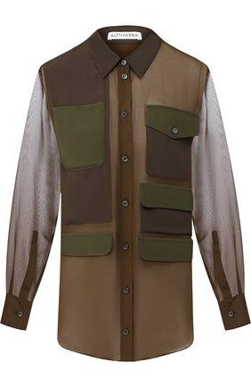 Женская шелковая блуза с накладными карманами Altuzarra, цвет хаки, арт. 318-401-637 в ЦУМ   Фото №1