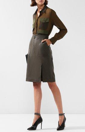 Кожаная юбка-карандаш на молнии с карманами Altuzarra хаки   Фото №1