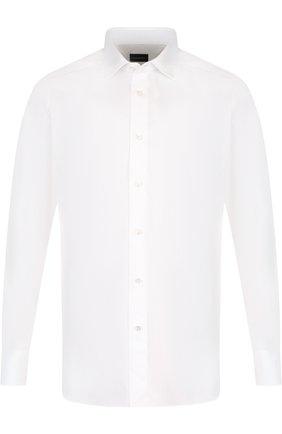 Мужская хлопковая сорочка с воротником кент ERMENEGILDO ZEGNA белого цвета, арт. 404010/9MS0PA | Фото 1