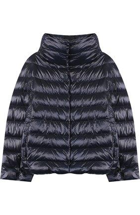 Стеганая куртка с воротником-стойкой Herno синего цвета   Фото №1