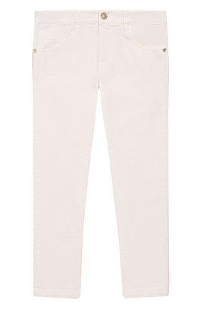 Детские однотонные джинсы прямого кроя Young Versace белого цвета | Фото №1