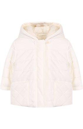 Детского утепленная куртка с капюшоном LORO PIANA белого цвета, арт. FAG3867 | Фото 1