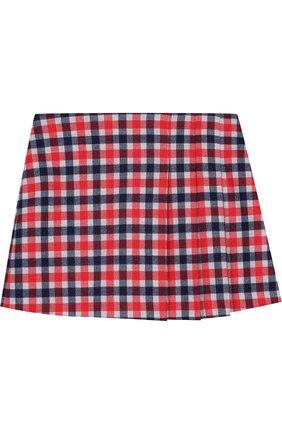 Детская мини-юбка с защипами Il Gufo красного цвета | Фото №1