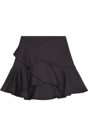 Детская юбка с оборкой асимметричного кроя Aletta темно-серого цвета   Фото №1