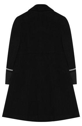 Двубортное пальто из шерсти с декоративной отделкой Aletta черного цвета   Фото №1