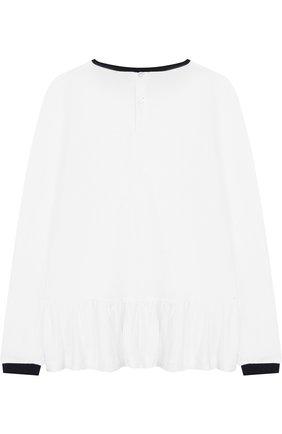 Детская блуза из вискозы с контрастной отделкой и бантом Aletta белого цвета   Фото №1