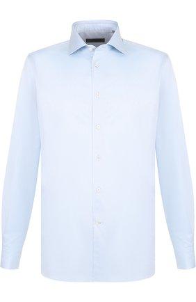 Мужская хлопковая сорочка с воротником кент CORNELIANI синего цвета, арт. 82P150-8811211/00 | Фото 1