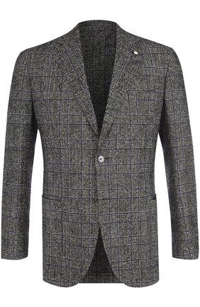 Однобортный шерстяной пиджак L.B.M. 1911 серый | Фото №1