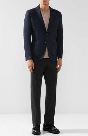 Однобортный пиджак из смеси шерсти и хлопка L.B.M. 1911 синий | Фото №1