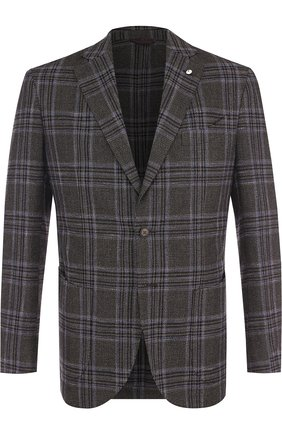 Однобортный пиджак из смеси шерсти и хлопка L.B.M. 1911 коричневый | Фото №1
