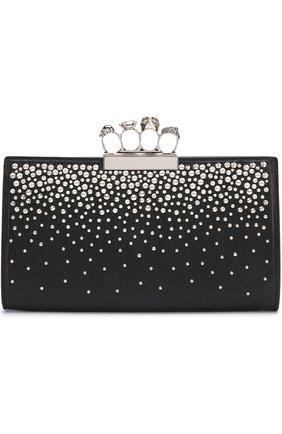 Клатч из кожи с декорированной ручкой Alexander McQueen черного цвета   Фото №1