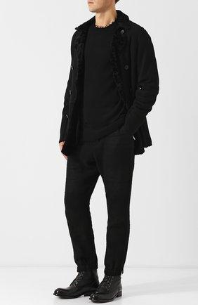 Высокие кожаные ботинки с внутренней меховой отделкой на шнуровке Moma черные | Фото №1