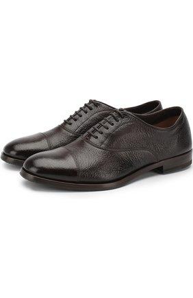 Классические кожаные оксфорды H`D`S`N Baracco темно-коричневые | Фото №1