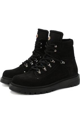 Мужские высокие кожаные ботинки на шнуровке MONCLER черного цвета, арт. D2-09A-10100-00-019CL | Фото 1 (Мужское Кросс-КТ: Хайкеры-обувь, Ботинки-обувь; Статус проверки: Проверено, Проверена категория; Подошва: Массивная)