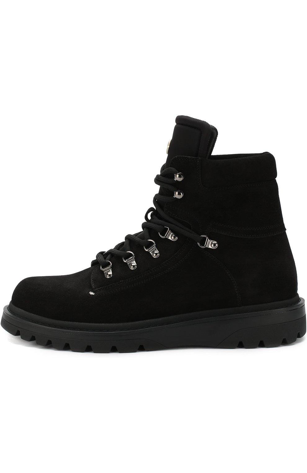 Мужские высокие кожаные ботинки на шнуровке MONCLER черного цвета, арт. D2-09A-10100-00-019CL | Фото 3 (Мужское Кросс-КТ: Хайкеры-обувь, Ботинки-обувь; Статус проверки: Проверено, Проверена категория; Подошва: Массивная)