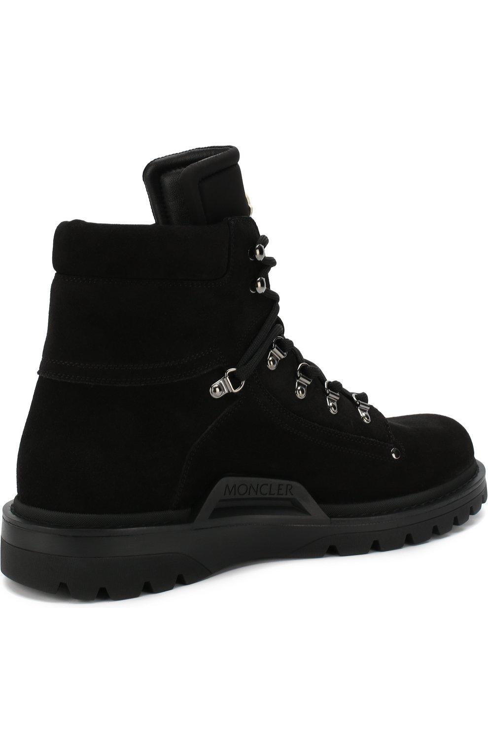Мужские высокие кожаные ботинки на шнуровке MONCLER черного цвета, арт. D2-09A-10100-00-019CL | Фото 4 (Мужское Кросс-КТ: Хайкеры-обувь, Ботинки-обувь; Статус проверки: Проверено, Проверена категория; Подошва: Массивная)