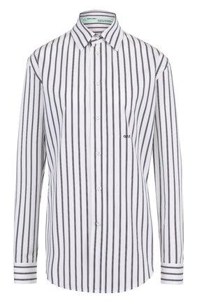 Хлопковая блуза в полоску с логотипом бренда
