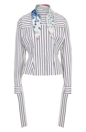 Женская хлопковая блуза в полоску с контрастным воротником Off-White, цвет черно-белый, арт. 0WGA045E187420299910 в ЦУМ | Фото №1
