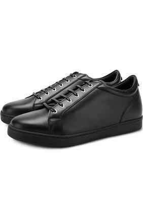 Мужские кожаные кеды на шнуровке KITON черного цвета, арт. USSNER0N00409   Фото 1