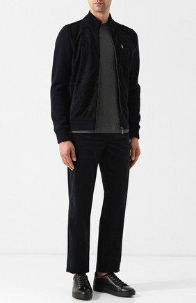 Мужские кожаные кеды на шнуровке KITON черного цвета, арт. USSNER0N00409   Фото 2