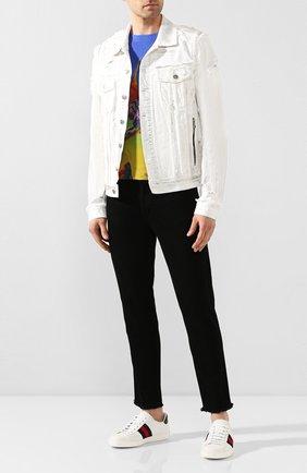 Мужские кожаные кеды ace GUCCI белого цвета, арт. 386750/A38D0 | Фото 2