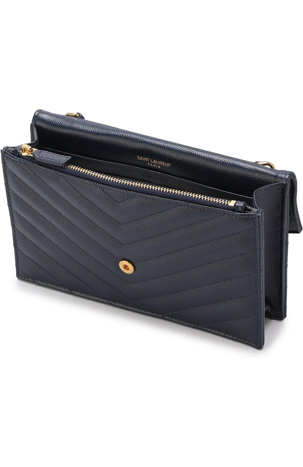 810efc7c6b140 Женская сумка monogram envelope mini SAINT LAURENT темно-синяя цвета ...
