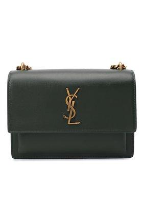 Женская сумка sunset medium SAINT LAURENT темно-зеленого цвета, арт. 442906/D420W   Фото 1 (Материал: Натуральная кожа; Ремень/цепочка: На ремешке; Статус проверки: Проверена категория; Размер: medium)