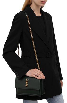 Женская сумка sunset medium SAINT LAURENT темно-зеленого цвета, арт. 442906/D420W   Фото 2 (Материал: Натуральная кожа; Ремень/цепочка: На ремешке; Статус проверки: Проверена категория; Размер: medium)
