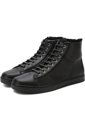 Мужские высокие кожаные кеды с внутренней меховой отделкой на шнуровке GIANVITO ROSSI черного цвета, арт. S20391.M1BLK.B0XNER0 | Фото 1