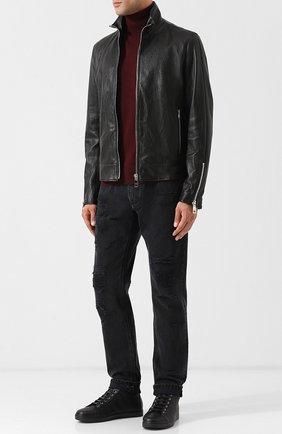 Мужские высокие кожаные кеды с внутренней меховой отделкой на шнуровке GIANVITO ROSSI черного цвета, арт. S20391.M1BLK.B0XNER0 | Фото 2