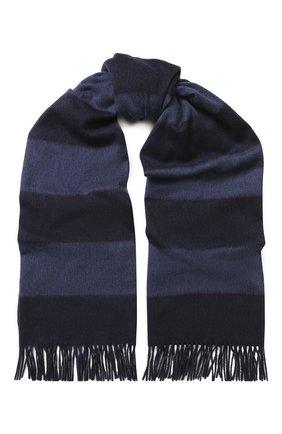Мужской кашемировый шарф с бахромой RALPH LAUREN темно-синего цвета, арт. 790725272 | Фото 1