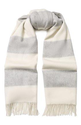 Мужской кашемировый шарф с бахромой RALPH LAUREN светло-серого цвета, арт. 790725272 | Фото 1