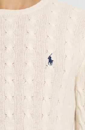 Мужской джемпер из смеси шерсти и кашемира POLO RALPH LAUREN кремвого цвета, арт. 710719546   Фото 5