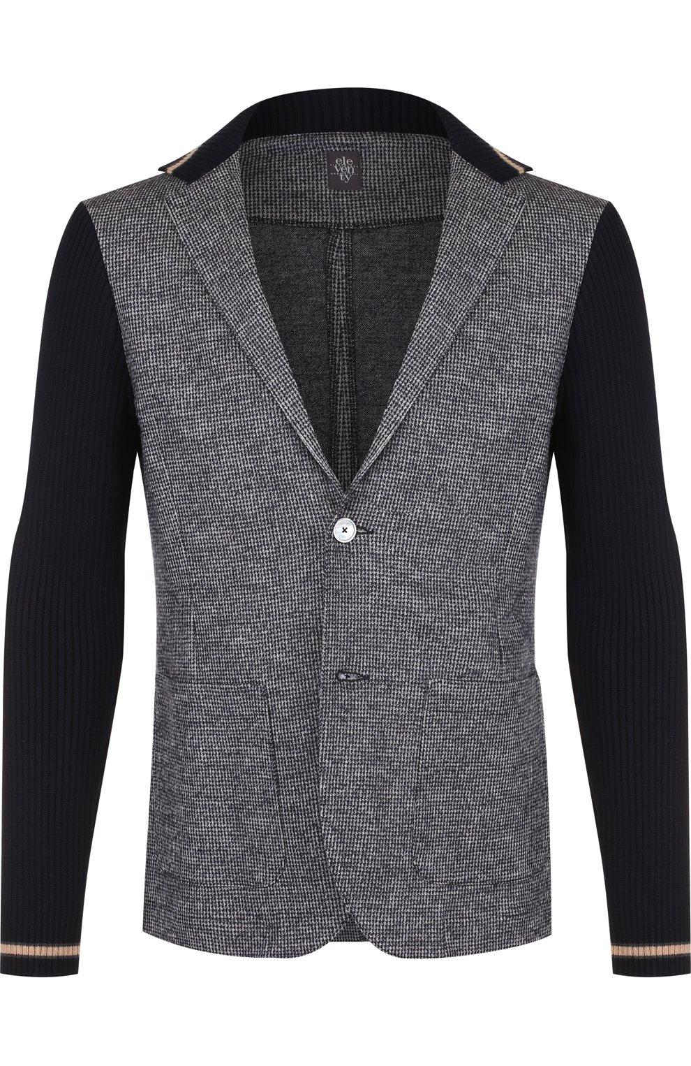 Однобортный пиджак из смеси шерсти и хлопка   Фото №1