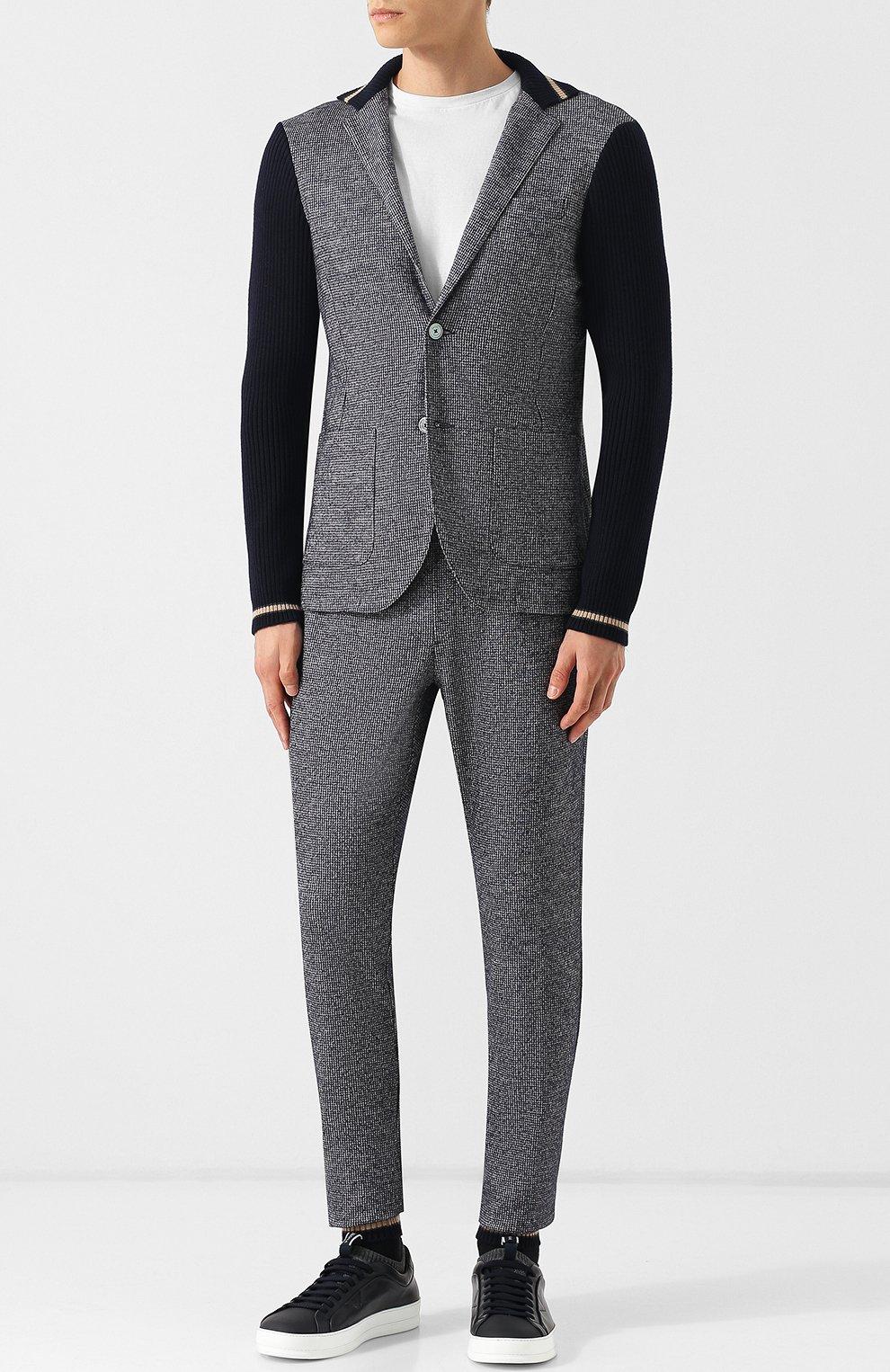Однобортный пиджак из смеси шерсти и хлопка   Фото №2