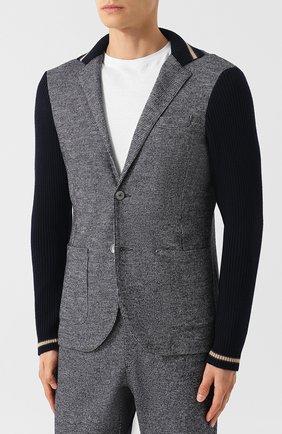 Однобортный пиджак из смеси шерсти и хлопка   Фото №3