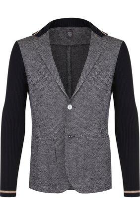 Однобортный пиджак из смеси шерсти и хлопка Eleventy UOMO темно-синий   Фото №1