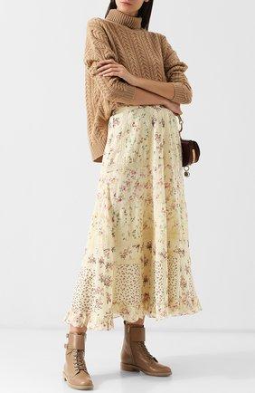 Хлопковая юбка-миди с принтом Polo Ralph Lauren кремовая | Фото №1