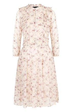 Приталенное мини-платье с оборками и принтом Polo Ralph Lauren розовое | Фото №1