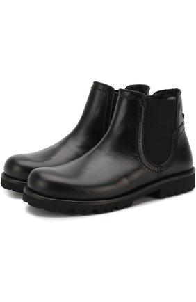 Кожаные ботинки на молнии с эластичной вставкой | Фото №1
