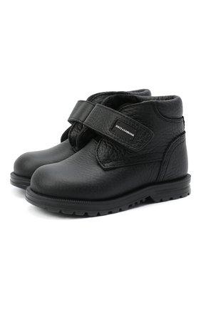Кожаные ботинки с внутренней меховой отделкой и застежками велькро | Фото №1