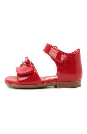 Детские кожаные босоножки DOLCE & GABBANA красного цвета, арт. D20045/A1328/19-28 | Фото 2