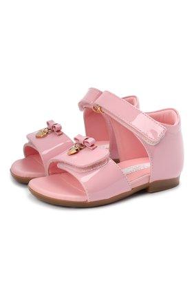 Детские кожаные босоножки DOLCE & GABBANA светло-розового цвета, арт. D20045/A1328/19-28 | Фото 1
